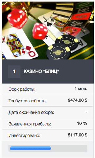 iClub100K - Пример инвестиционного лота - онлайн-казино