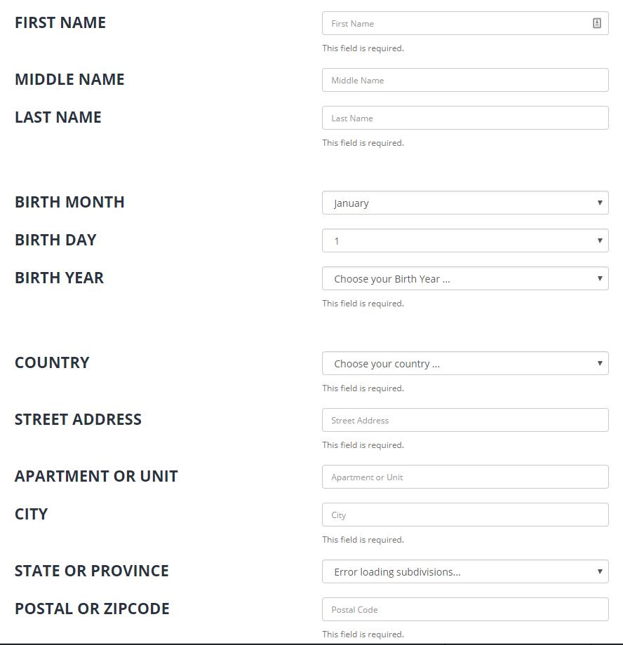 Анкета для верификации на бирже Bittrex