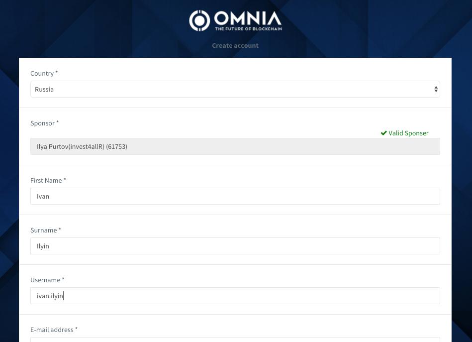 Регистрация в Omnia - Шаг 4 - Заполняем регистрационную форму