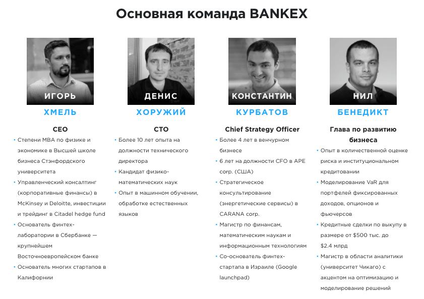 Команда Bankex - Основная 1