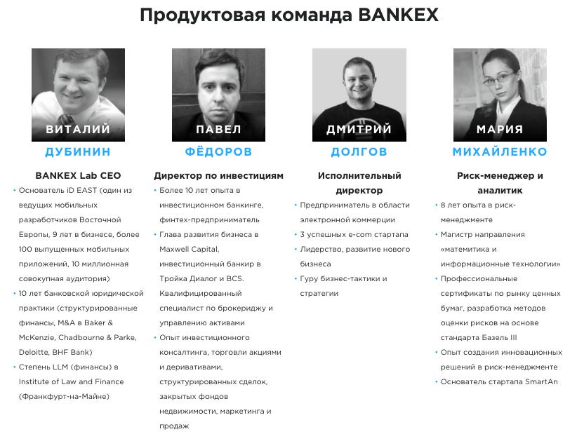 Команда Bankex - Продуктовая 1