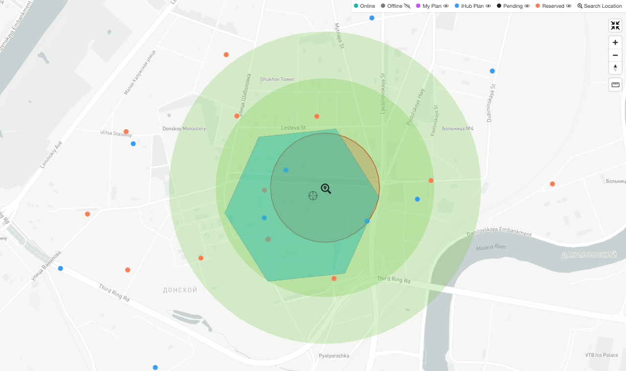 Минимальные расстояния между майнерами iHub Global