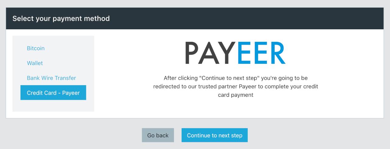 Omnia - добавили возможность оплаты картами через Payeer