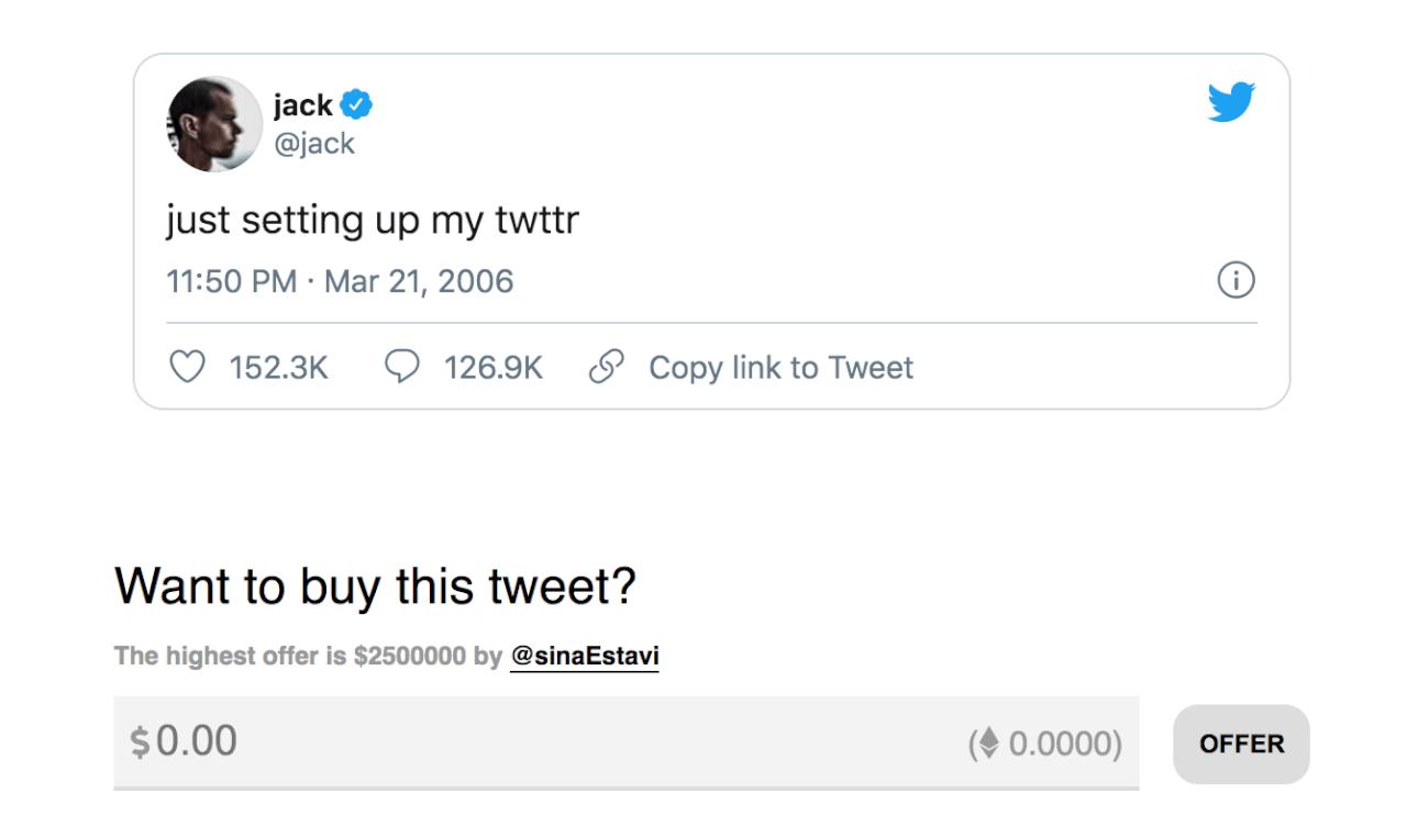 Основатель Твиттера Джек Дорси продает свой первый твит