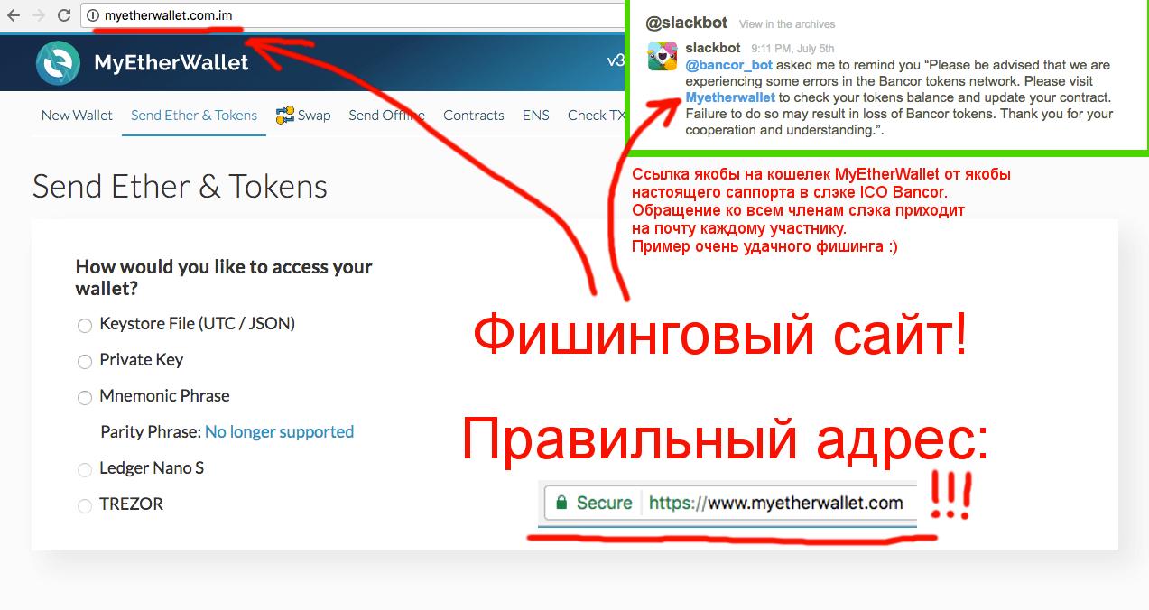 Пример фишинговой атаки с помощью клона MyEtherWallet