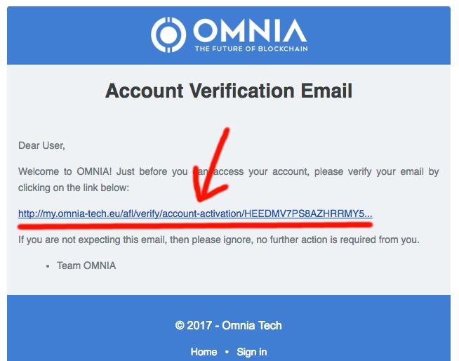 Регистрация в Omnia - Шаг 5 - Верификация аккаунта на почте