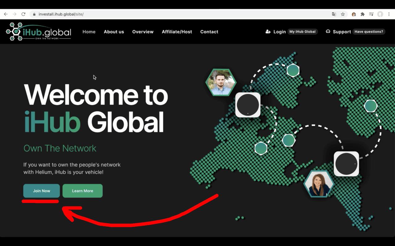 Регистрация в iHub Global - Шаг 1