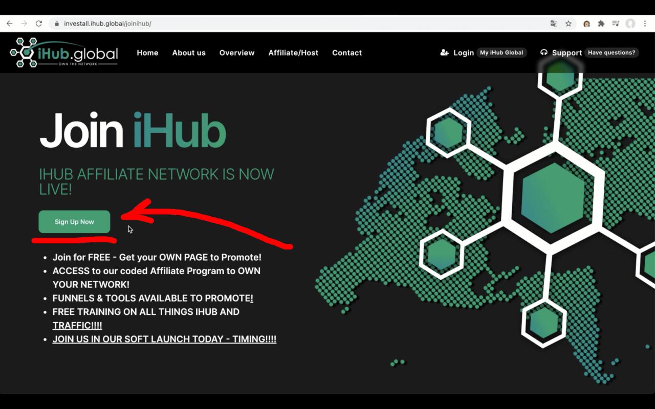 Регистрация в iHub Global - Шаг 2