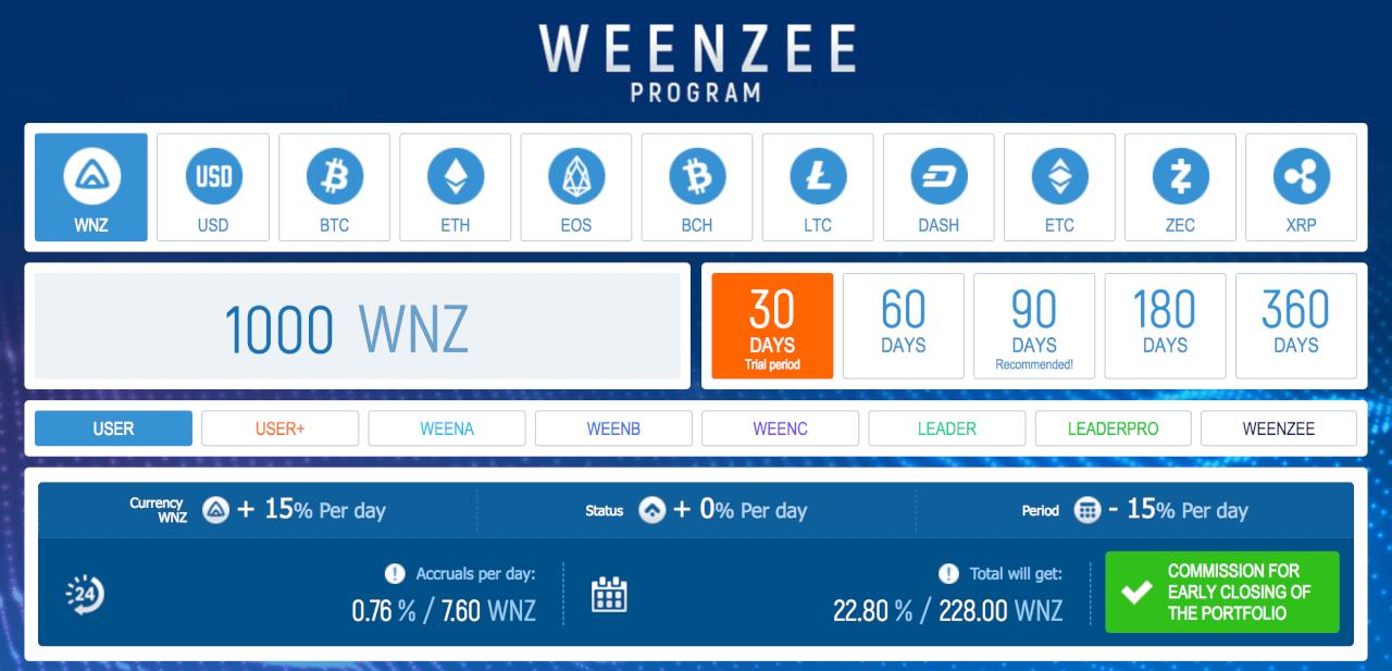 Условия для инвесторов Weenzee