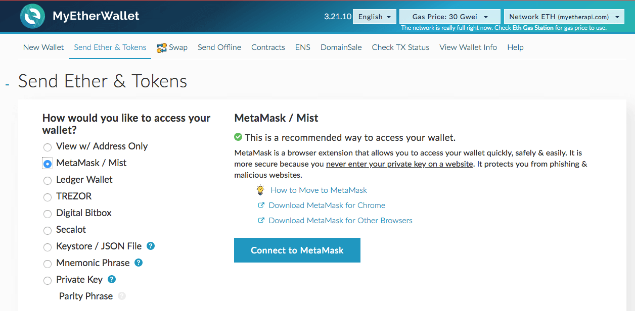Установка Metamask - Шаг 13 - Подключение к MEW с помощью Metamask